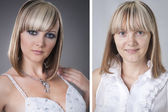 Pretty young woman before and after makeover in studio — Stok fotoğraf