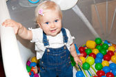 Baby girl playing in play-mat at home — Foto de Stock