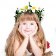 Cute little girl wearing a wreath isolated on white background — Stock Photo #7296930