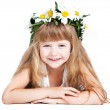 Cute little girl wearing a wreath isolated on white background — Stock Photo #7296938