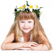 Cute little girl wearing a wreath isolated on white background — Stock Photo