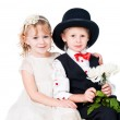 Little gentlemen and lady romance isolated — Stock Photo