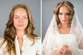 Beautiful bride's portrait before and after makeover in studio — Stok fotoğraf