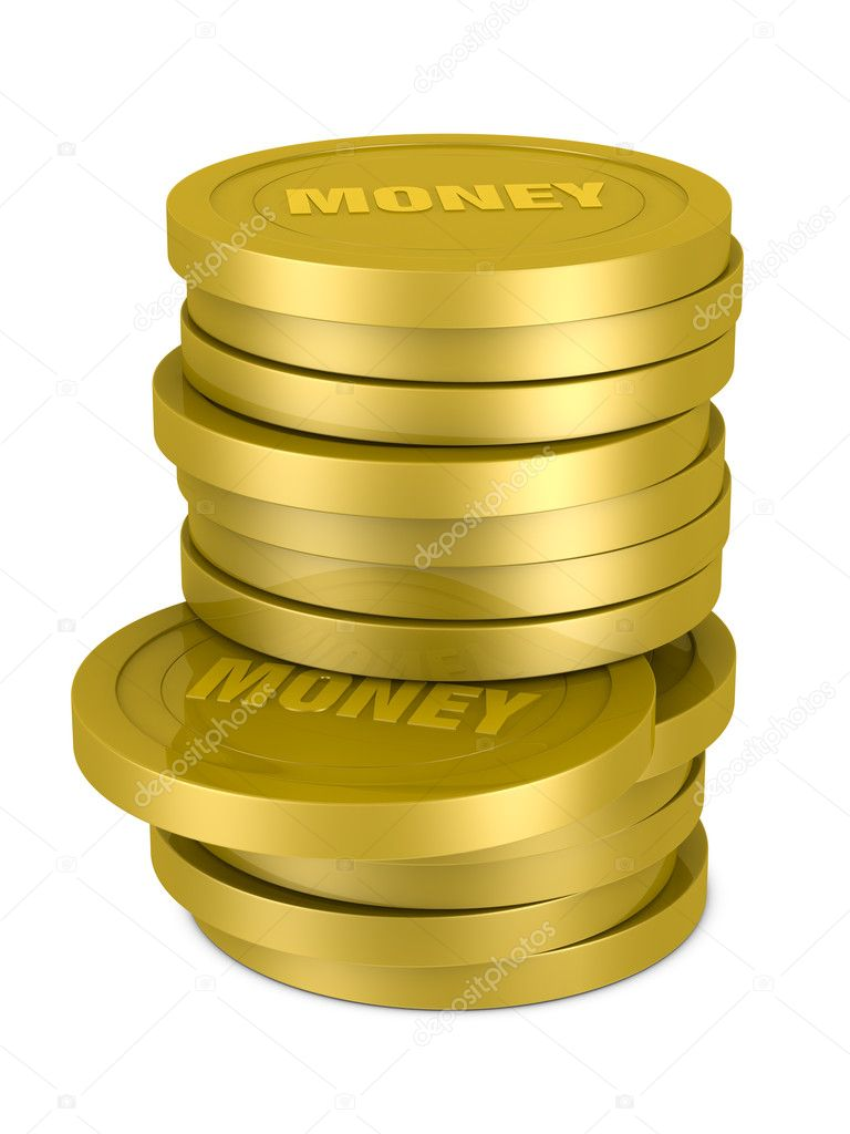 One pile of coins with the text: MONEY on them (3d render)  Stock Photo #6896757