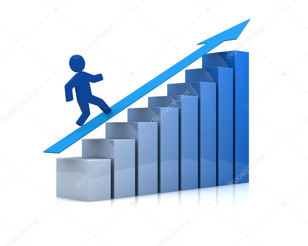 One growing bar chart with a cartoon man climbing it (3d render) — Stock Photo #7258679