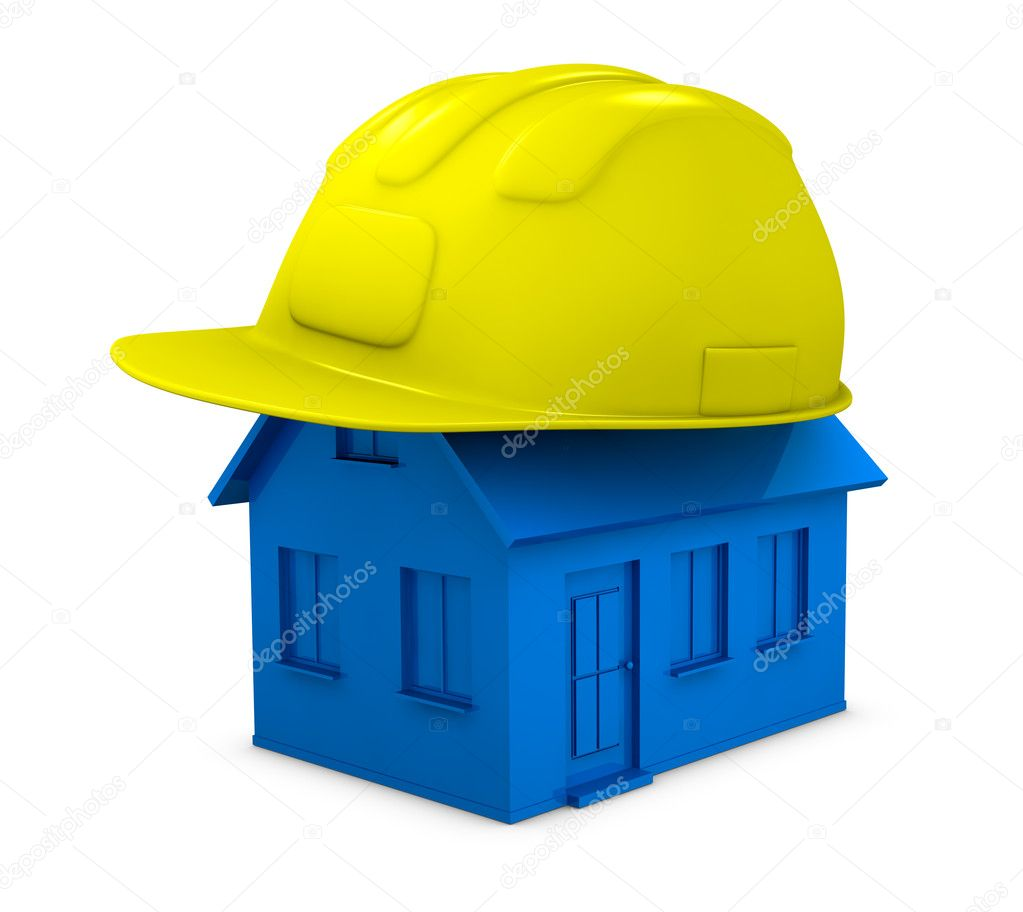 One miniature house with an helmet on top of it (3d render) — Stock Photo #7799404
