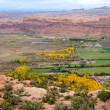 Stock Photo: City of Moab from Moab Rim in Fall