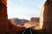 Railroad Through Remote Desert Canyon — Stock Photo