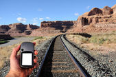 Navigating Desert Southwest with GPS — ストック写真