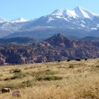 Stock Photo: Moab Ranch with view of LSal Mountains