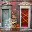 Stock Photo: Historic PhiladelphiHouses on Halloween