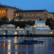 philadelphia art museum and fairmount water works at dusk — Stock Photo