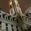 Stock Photo: PhiladelphiCity Hall Clock Tower at Night