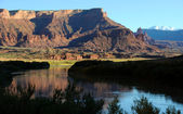 Fisher Towers and Colorado River near Sunset — Stock Photo