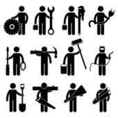 Construcción trabajador trabajo icono pictograma señal símbolo — Vector de stock