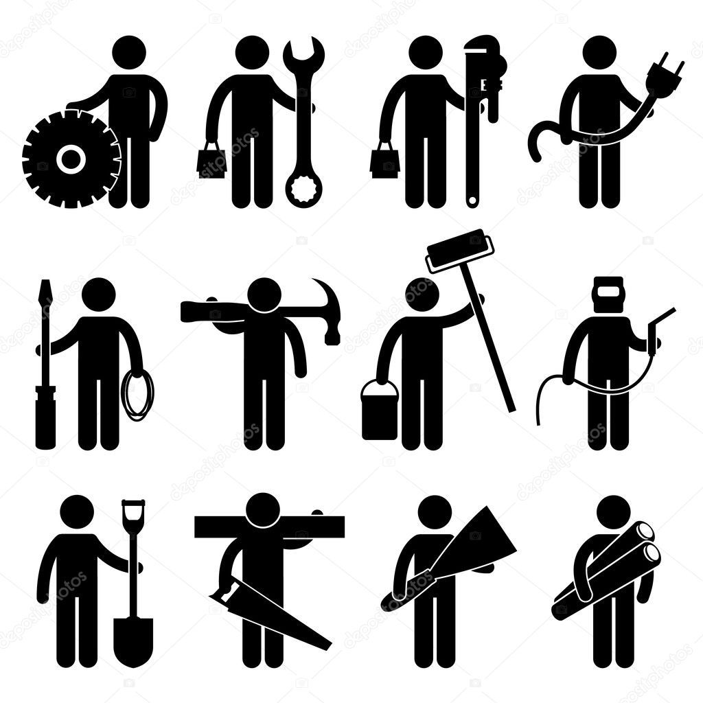 A set of construction worker job and occupation in pictogram. — Stock Vector #6851983