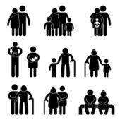 счастливые семьи значок знак символ — Cтоковый вектор