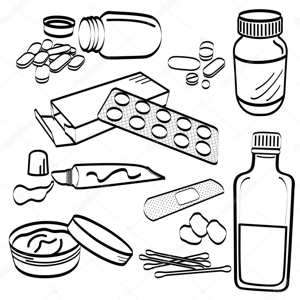 Medical Medicine Tablet Pill Doodle Stock Vector
