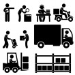 Logistic Warehouse Delivery Shipping Icon Pictogram — Stok Vektör
