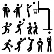 图库矢量图片: Basketball Player Icon Sign Symbol Pictogram