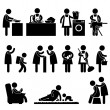 Vector de stock : WomWife Mother Daily Routine Icon Sign Pictogram