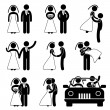 Wedding Bride Bridegroom Married Marry Marriage — Imagens vectoriais em stock