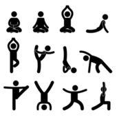 Yoga Meditation Exercise Stretching Pictogram — Stock Vector