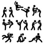 Fight Fighter Muay Thai Boxing Karate Taekwondo Wrestling — Vector de stock