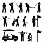 Golf Golfer Swing Caddy Caddie Pictogram — Stock Vector