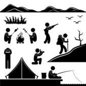 Caminhadas trekking de selva aventura fogueira de acampamento — Vetorial Stock