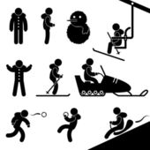 Winter Activity Chairlift Skiing Snowmobile Snow Fight Sledding — 图库矢量图片