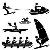 Wody morza skurfing sportu wioślarstwo, windsurfing, spływy — Wektor stockowy