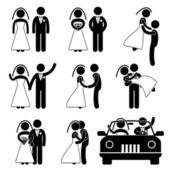 Boda novia novio casado casar matrimonio — Vector de stock