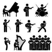 Musician Pianist Guitarist Choir Drummer Singer Concert — Stock Vector
