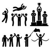 Wygrać zwycięzca przegrany chwały celebracja mistrz sukces zwycięstwo — Wektor stockowy