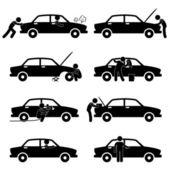 Fixing Checking Washing Repairing Painting Car Changing Tyre — Stock Vector
