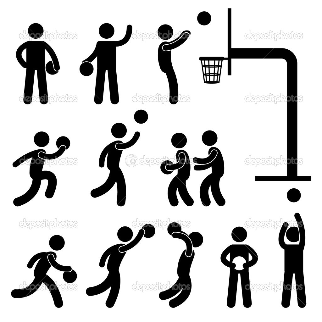 A set of pictogram about basketball game. — Stock Vector #7411578