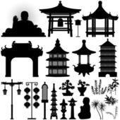 Vestige du temple temple asiatique chinois — Vecteur