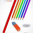 Colored pencil and eraser. — Stock Vector