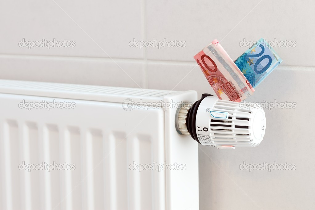 Heating thermostat with euros, expensive heating concept — Stock Photo #6995500