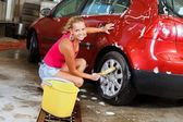 Sexy woman carwash — Stock Photo
