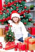 Girl with gifts — Stockfoto