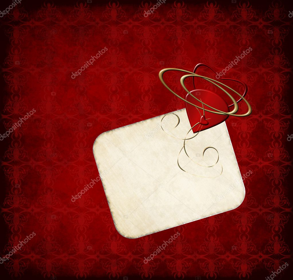 Romantic greeting card with hearts on red grunge background  Stock Photo #6770460