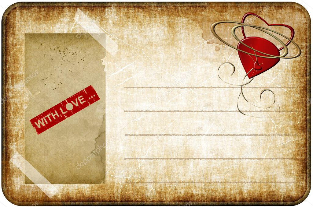 Romantic greeting card with hearts on a grunge background — Stock Photo #6775169