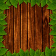 Wooden background with green leaves — Stock Photo