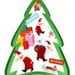 Stock Vector: Christmas tree with Santa Claus and gifts