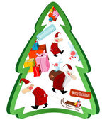 Christmas tree with Santa Claus and gifts — Stock Vector