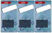 Sale jeans tags, price and discount percents — Stock Photo