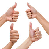 Hand with thumb up in various poses — Stock Photo