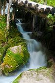Wodospad i most, plitwickie, chorwacja — Zdjęcie stockowe